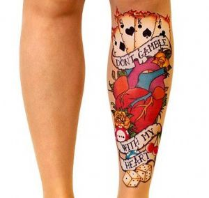 Stop and Stare Handpainted Tattoo Tights with  Hearts & Playing Cards
